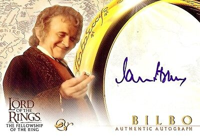 Lord of the Rings The Fellowship Of The Ring Autograph Card Sir Ian Holm - Bilbo