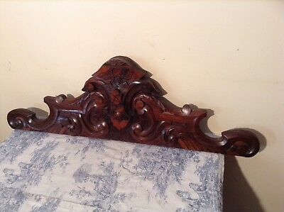 Antique French Wooden Furniture Finial Pediment - Salvaged Vintage (2382)