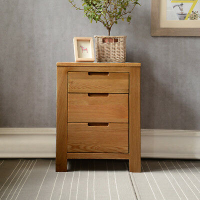 Oak Bedside Table with 3 Drawers | 100% Solid Wooden Side/End/Lamp Nightstand