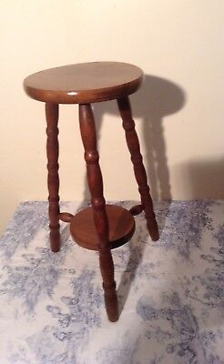 Vintage Style French 3 Legged Tall Stool / Wooden Plant Stand Table (2178)