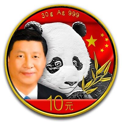 30g China Panda President Xi Jinping Color-Gilded BU 2018 - PRE SALE