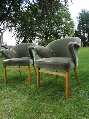 Super pair of 2 Mid Century 1950 60's wing sided sage green armchairs, chairs