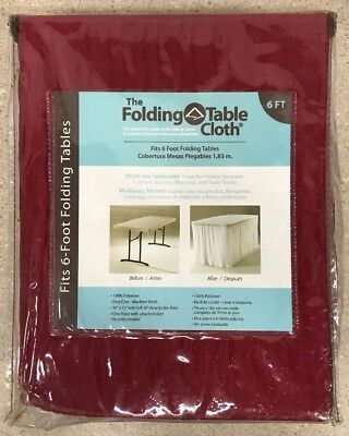 """NEW The Folding Table Cloth - 30"""" x 72"""" w/ Full 29"""" Drop to the Floor - Red"""