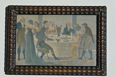 Antique French Print In A Hand Carved Folk Art Frame Depicting A Dining Scene