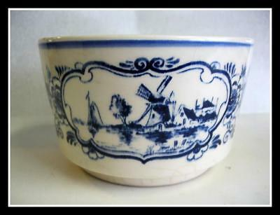 Antique Early Dutch Delft Bowl Blue White Hand Painted Pottery Boat Windmill
