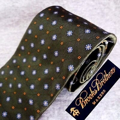 NEW NWOT BROOKS BROTHERS TIE Green Silk Twill Chain-link Blue Silver Gold Floret