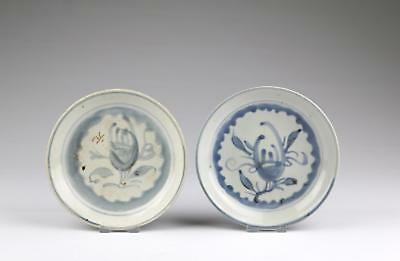 Two Antique 19thC Chinese Qing Blue & White Minyao Dehua Porcelain Saucer Dishes