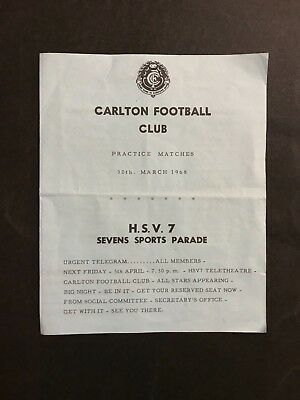 Football Record Rare Carlton 1968 Practice Matches, 4 Pages