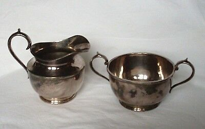 Antique James Dixon & Sons EPBM Cream Jug & Twin Handled Sugar Bowl. E879, 1