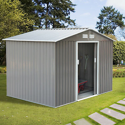 9x6ft Garden Storage Shed Metal Storage House w/ Floor Foundation Patio Steel
