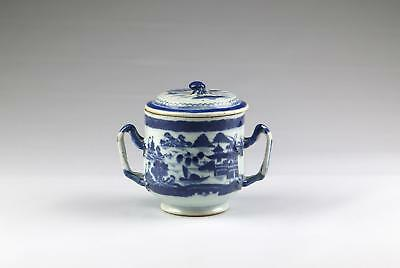 Antique 19C Chinese Qing Blue White Jiaqing Canton Porcelain 2 Handled Pot & Lid