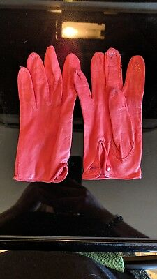 ⭐️ Women's Red Leather, Vintage Driving Gloves, Size 7⭐️