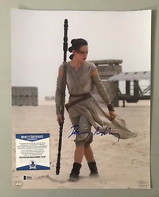 Daisy Ridley Signed 11x14 STAR WARS Topps Photo Rey BAS WITNESSED COA