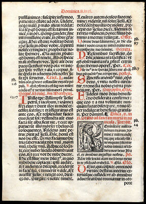 Mass for Saturday & Sunday During Second Week of Lent 1566 Roman Missal Leaf