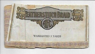 Vintage AFC Featherstitch Braid Purple Art Deco Design Trim 3 Yards In Package