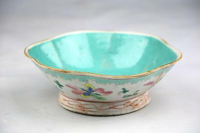 Antique 20thC Chinese Late Qing To Republic Marked Canton Porcelain Lotus Bowl