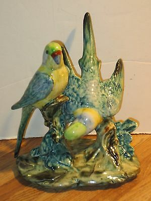 Vtg. Stangl Pottery Double Parakeet Figurine Sculpture #3582, Signed IFF, Mint