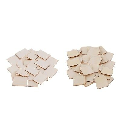 100pc Wooden Rectangle/Square MDF Plaque Unfinished Wood Pieces for Crafting
