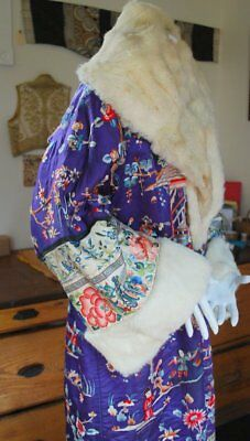 Antique Chinese Embroidered Winter Robe Violet Silk * White Fur Lining Opulant