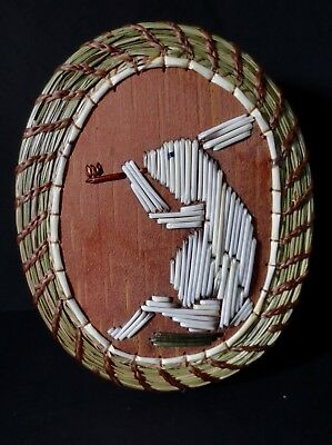 PIPE SMOKING RABBIT (myth) coiled oval sweetgrass basket, - Paul St. John-Mohawk