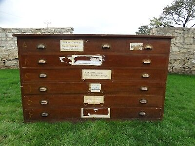 Large 7 drawer Vintage Architects plan chest. map chest collectors drawers