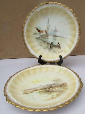 Antique Pair George Jones Hand Painted Cabinet Plates - Crescent by B. Innes