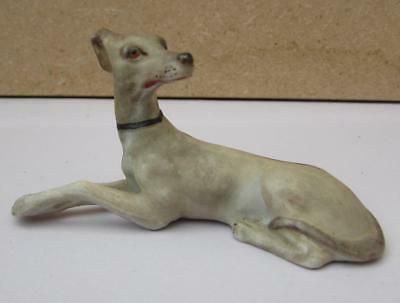 Antique 19thC Miniature German Porcelain Greyhound - Hand Painted Bisque