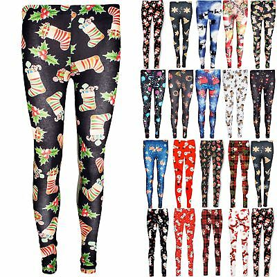 Womens Xmas Christmas Elf Snow Flake Printed Reindeer Ladies Stretchy Leggings