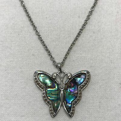 """Butterfly Mother of Pearl Pendant w/ 16""""-19"""" Silver-Tone Chain Necklace"""