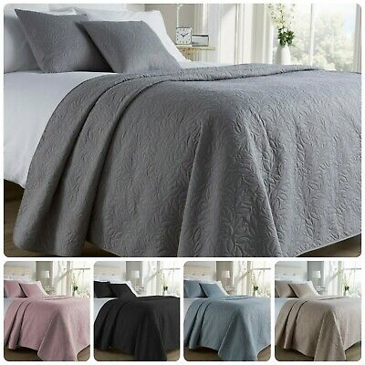 Quality Quilted Leaf Embossed Hotel Duvet Bedspread Throw For Double / King Bed