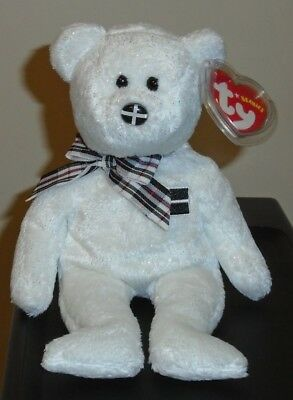 Ty Beanie Baby ~ PIRAN the Bear with FLAG NOSE (UK Exclusive) MWMT