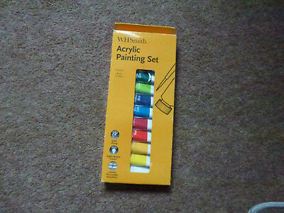 Acrylic Paint Set From Wh Smith - 12 Tubes Of Paint + Brush -  Bnib