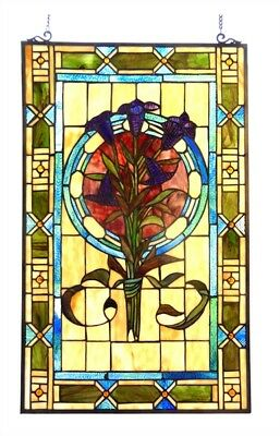 """Tulip Flowers Floral Stained Glass Window Panel 20"""" X 32"""" Handcrafted"""