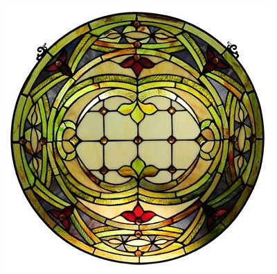 """Float Art Stained Glass Window Panel 24"""" Tiffany Style Handcrafted"""