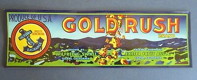 Wholesale Lot of 25 Old Vintage - GOLD RUSH Grape LABELS - Exeter CA. - NUGGETS