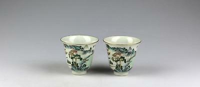 Superb Pair Antique 19C Chinese Qing Jiaqing Porcelain Topographical Cups/Beaker