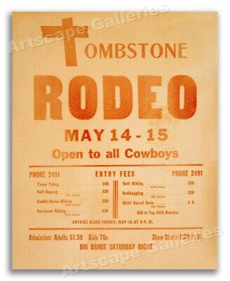Tombstone Rodeo - Open to all Cowboys - 1927 Vintage Rodeo Poster - 16x20