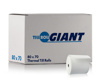 20 Rolls 80 x 70 (80 x 80mm Fit) Thermal Till Rolls Compatible With Epos Termina