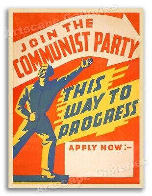 """""""Join the Communist Party - This Way to Progress"""" 1940s Vintage Poster - 20x28"""