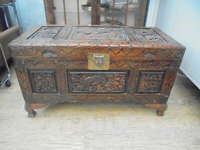 Chinese Vintage/antique Camphor Wood Chest. Heavily Hand Carved, Quality Item.