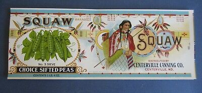 Wholesale Lot of 50 Old Vintage 1920's - SQUAW Pea CAN Labels - Centerville MD