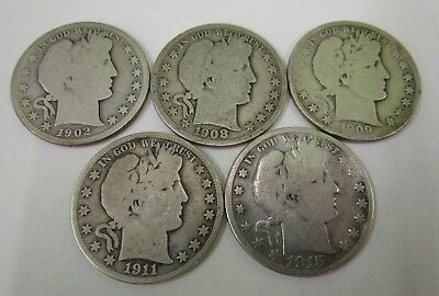 Lot of 5 Barber Half Dollars - US Coin
