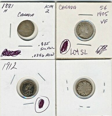 CANADA 5 CENTS 1881 H , 1905, 1912 & 1913 - 4 SILVER COINS (stock #020)