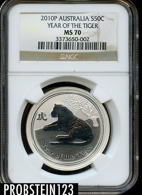 2010P Australia S50C Year of the Tiger Silver NGC MS70