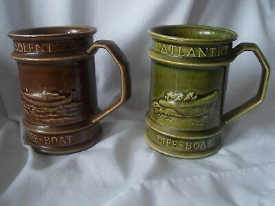 RNLI Atlantic and Solent Life Boat Service Holkham Pottery Mugs