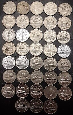 Collection of 38x Canada 5 Cents Coins ***1922 to 2000*** Great Condition