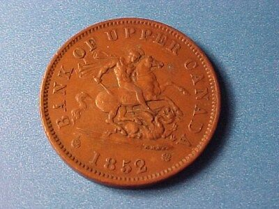Province Of Canada Large Penny Token 1852 Xf Nice George & Dragon