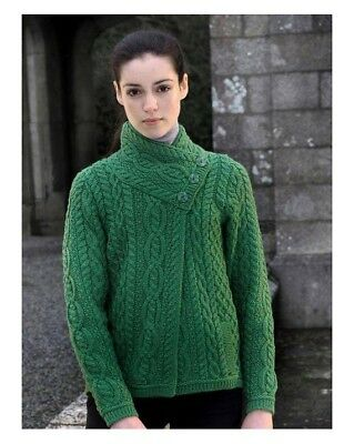 47f36762f WOMEN S GREEN CABLE Knit Side Zip Aran Coat Z4631 Merino Wool - Made ...