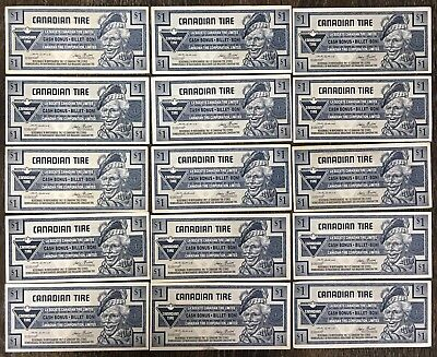 Lot of 15x 1991 Canadian Tire $1 Dollar Notes ***Great Condition*** CTC-S23-F1
