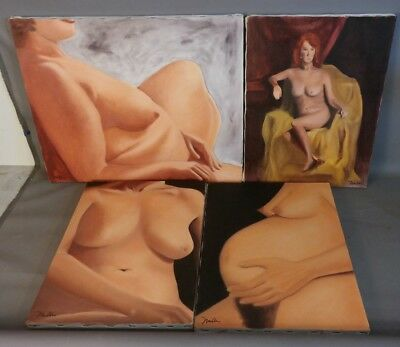 Lot (4) Vintage NUDE LADY PORTRAIT Old BREAST FEEDING / PREGNANCY Oil PAINTING